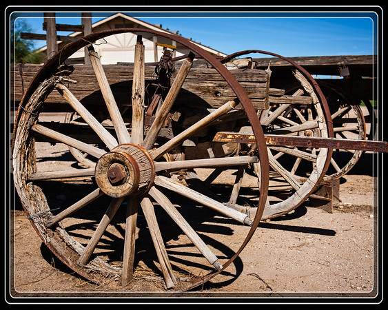 Yuma, AZ-Quartermaster Depot    Weathered Wagon Wheels Lined Up     Link to Photo Without Frame