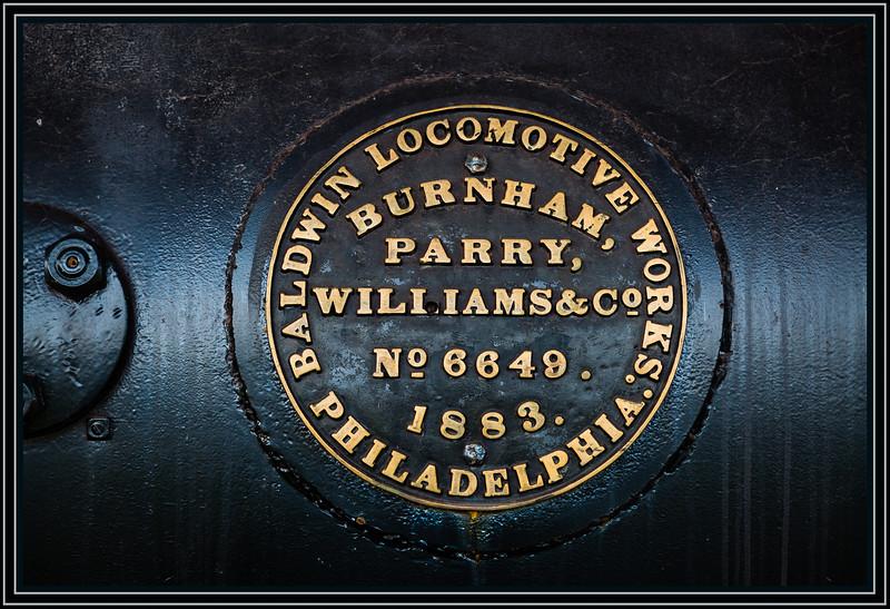 Baldwin Locomotive 6649 ID Plate