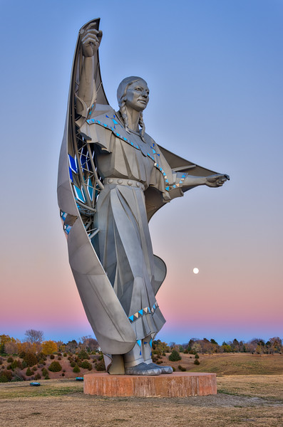 HDR image of the Dignity Sculpture near Chamberlain, South Dakota taken shortly after sunset