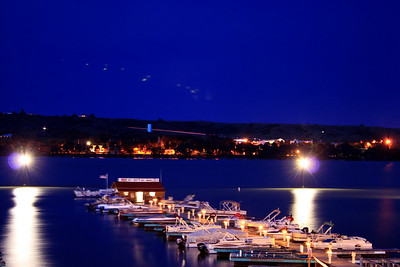 The Marina at Night - This was taken at the Cedar Shore Resort in Chamberlain SD and is displayed in the lobby of the hotel.