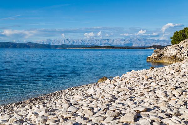 Overlooking the pebbles of Vaja Bay