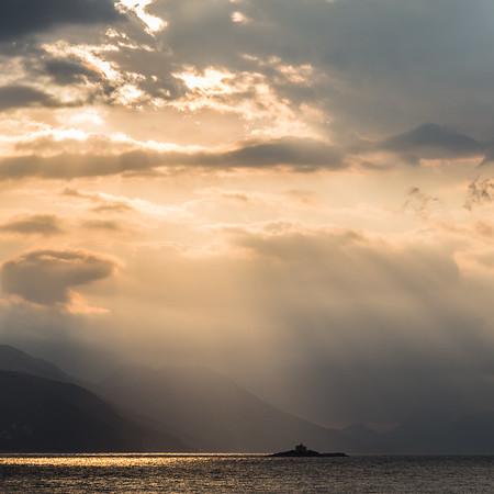 Rays of light over the Peljesac peninsula