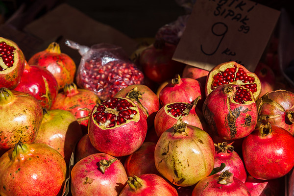 Pomegranates piled up