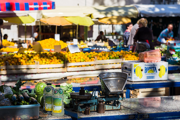 Weighing scales on a market stall