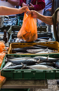 Money changes hands at Split's fish market