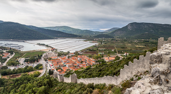 Looking down the walls of Ston towards the salt pans