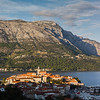 Korcula old town at the foot of the Peljesac mountains across the Peljesac channel