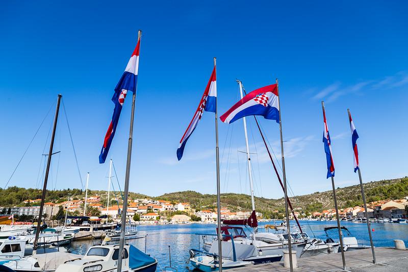 Quintet of colourful Croatian flags