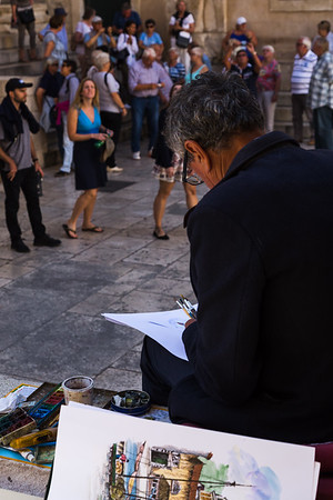 An artist at work beneath the Cathedral of Saint Domnius