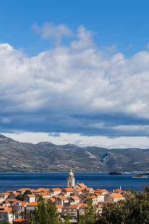 Korcula old town under a blue sky