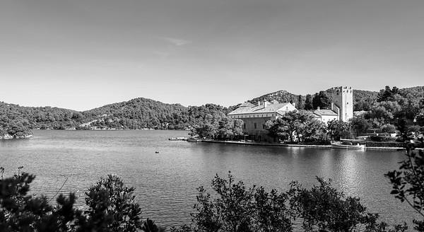 St Marys Island in monochrome