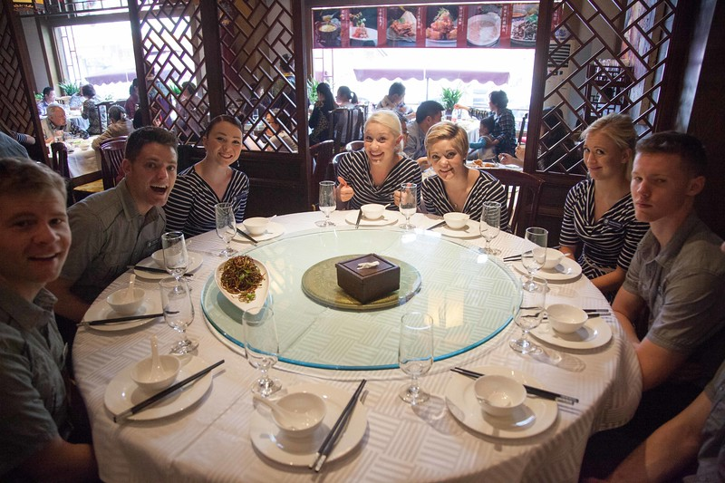 1405-44 0114  1405-44 BLR China and Hong Kong Tour BYU BDC Ballroom Dance Company Directors:  Lee and Linda Wakefield April 28 - May 19, 2014  First Chinese meal.  Lunch at a Duck place! Beijing, China  April 30, 2014  Photo by:  Todd Wakefield/BYU  Copyright BYU Photo 2013 All Rights Reserved photo@byu.edu  (801)422-7322