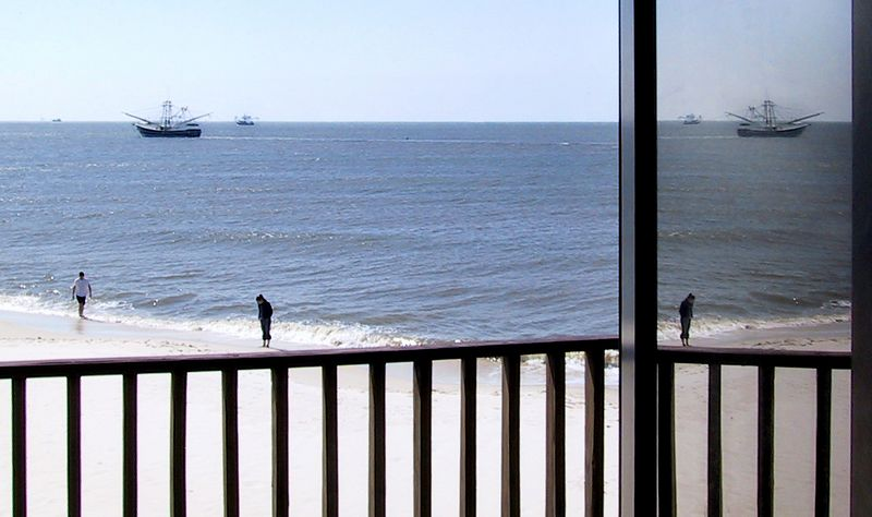 Taken from the open glass doorway of our cabin on the beach.