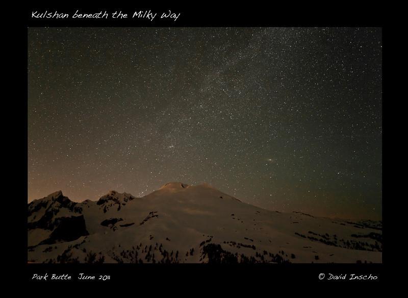 Kulshan beneath the Milky Way (Andromeda galaxy to upper right of Kulshan)