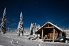 Snow Peak Cabin by moonlight, Jupiter overhead