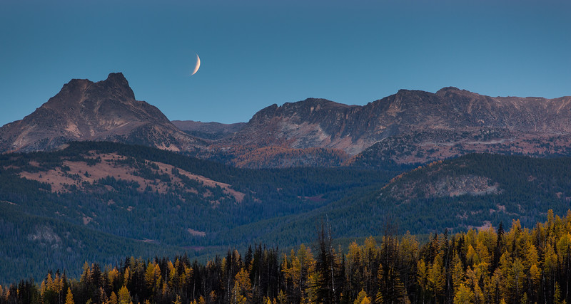 Rising eclipse with Cathedral Peak