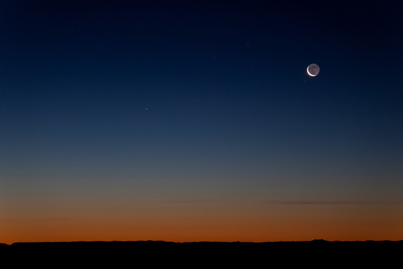 Waning Crescent with Mercury and Antares