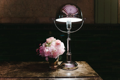 Lamp and Pink Bouquet
