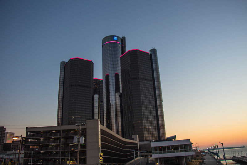 The Renaissance Center ringed in pink for Breast Cancer Month during the Detroit Free Press International Marathon in October, 2012.