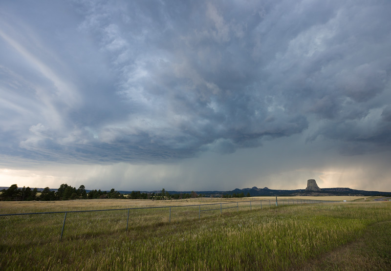 Storm moving over Devils Tower, Wyoming