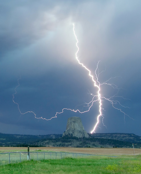 Lightning strike near Devils Tower, Wyoming
