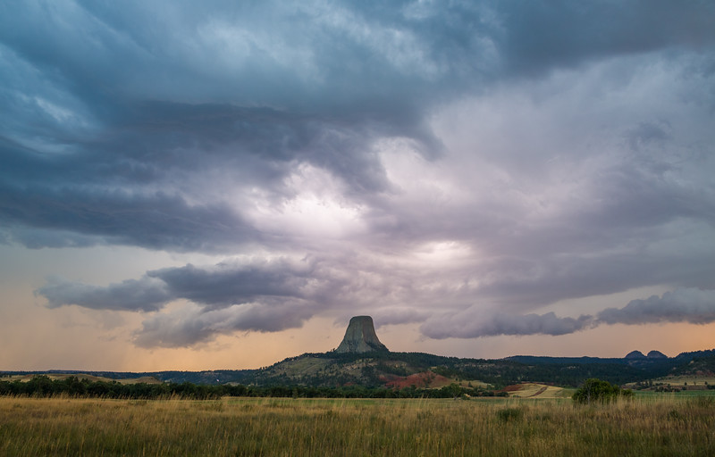 Sunset storm over Devils Tower, Wyoming