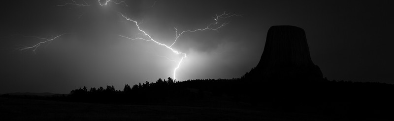 Lightning near Devils Tower, Wyoming