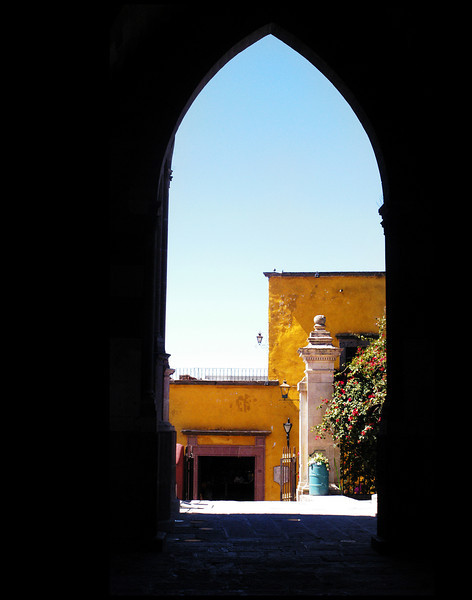 An archway in the Parroquia, the iconic church in San Miguel de Allende.