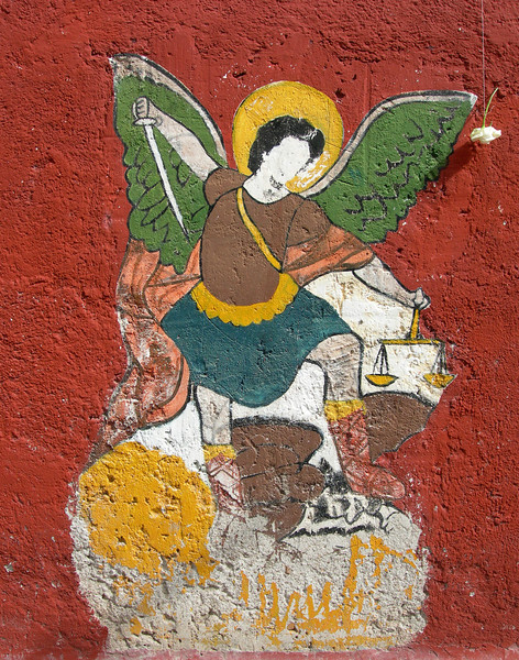 This painting of Saint Micheal (San Miguel) honors the patron saint of the town where these images were taken, San Miguel de Allende.
