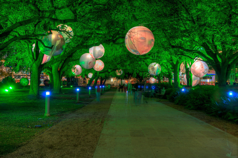 A lighted walkway at Discovery Green. I experimented with a few versions of this photo - this one as an HDR.