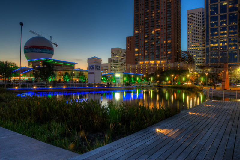 View of Discovery Green at sunset.