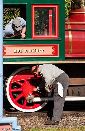 Inspecting the Train - Disney World, Orlando, FL, USA