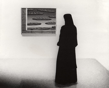"Nun observing levitating baguette (""The Golden Legend"" by René Magritte painting) at New York Museum of Modern Art (NYMOMA)"