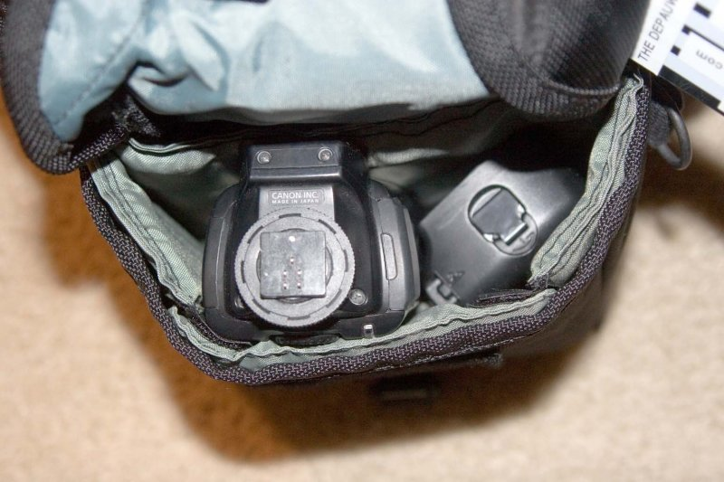 This is a fully sized Canon flash with the head pointed straight up-- the bag's height is perfectly matched to typical professional gear.