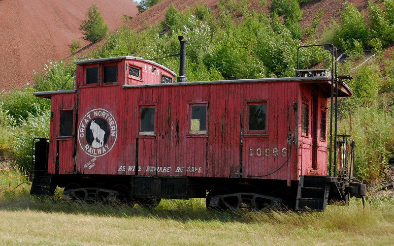"""""""Be Wise, Beware, Be Safe"""" - Train caboose on the Iron Range."""