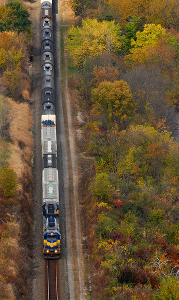 Looking down on the southbound  train along the Mississippi River in Minnesota