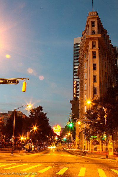 Auburn Ave. Downtown Atlanta before sunrise.