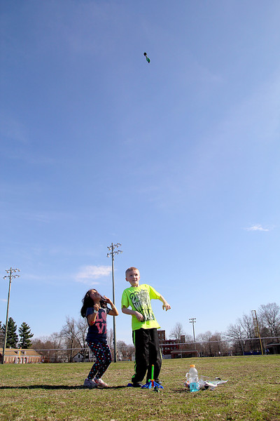 It was a great day to be playing outside at Doyle Field in Leominster on Monday. Having smoe fun with some rockets at the park is Friends Mariana Rosemiola, 7, and Diesel Whitten, 8, of Leominster. SENTINEL & ENTERPRISE/JOHN LOVE