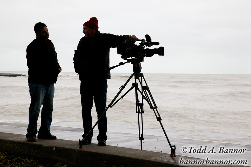 These two were getting storm footage for an upcoming History Channel show on Great Lakes shipping.