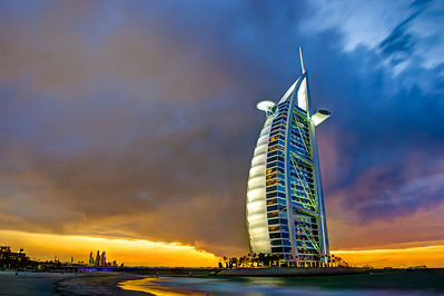 Dubai. Burj Al Arab at sunset.