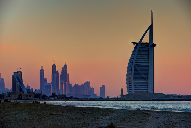 Burj Al Arab and the Marina at sunset as seen from Kite Beach.