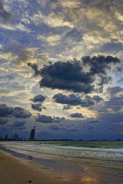 Burj Al Arab as seen from Kite Beach just before sunset.