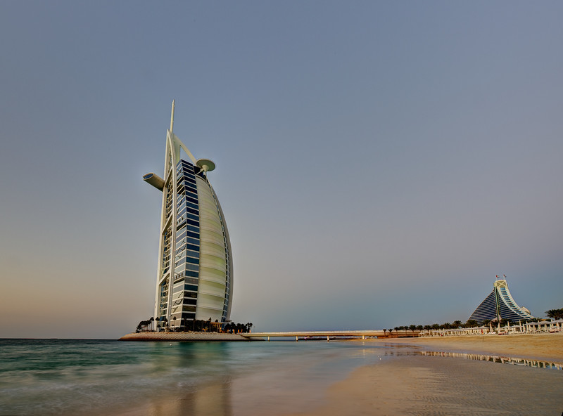Dubai. Burj Al Arab and Jumeirah Beach Hotel at sunset Dubai. Burj Al Arab at sunset