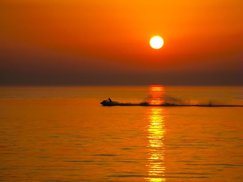 Dubai. Kite Beach. Jet ski just before sunset.
