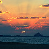 Sunset behind the Atlantis as seen from Kite Beach in Dubai.