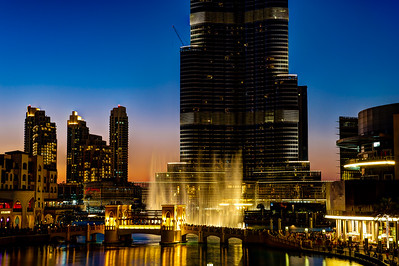 Dubai. Burj Khalifa, Dubai Mall at sunset.