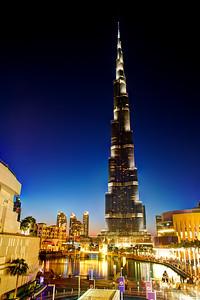 Dubai. Burj Khalifa and Dubai Mall at sunset.