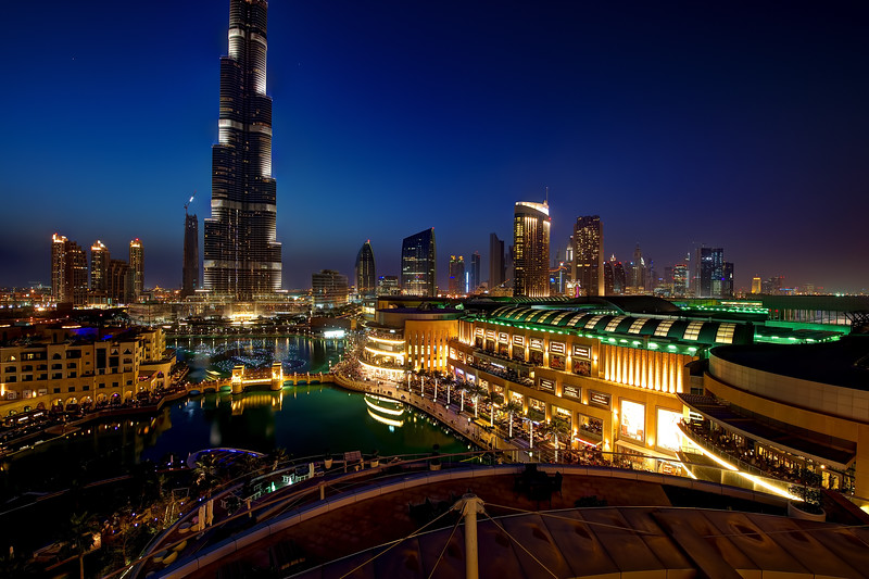 Dubai. Burj Khalifa, the Dubai Mall and downtown. View from The Address hotel.