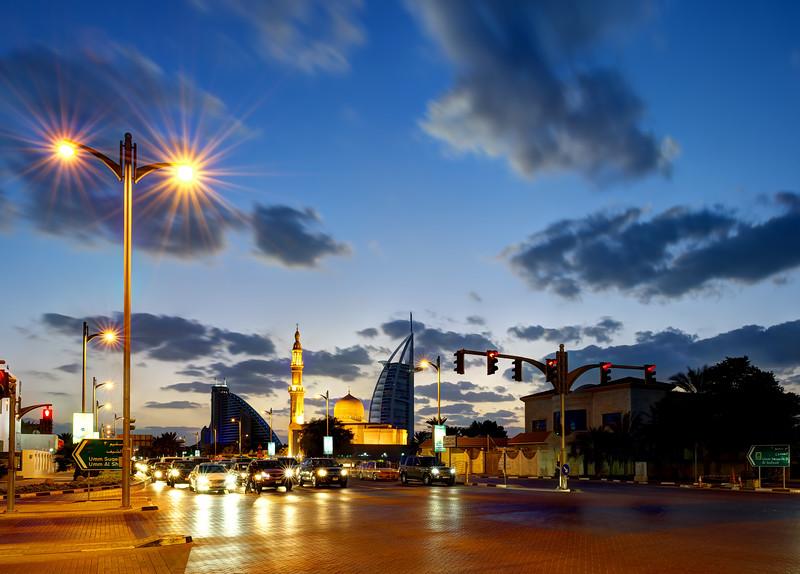 Dubai. Umm Suqeim intersection, Burj Al Arab, Jumeirah Beach Hotel, Mosque.