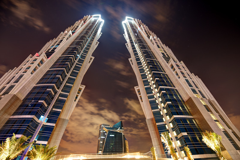 Dubai. Business Bay. The twin towers of the JW Marriott Marquis hotel.